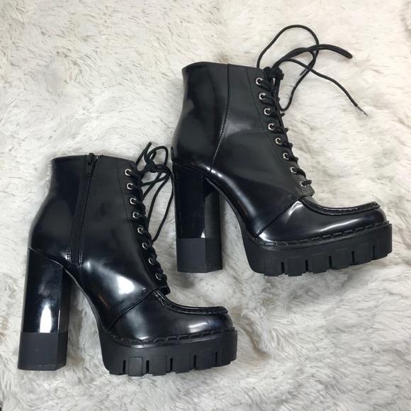 0a3f01a60a1a Zara Black Patent High Heel Combat Boots Sz. 6.5. M 5b2421cc2beb79e7e3f0073f
